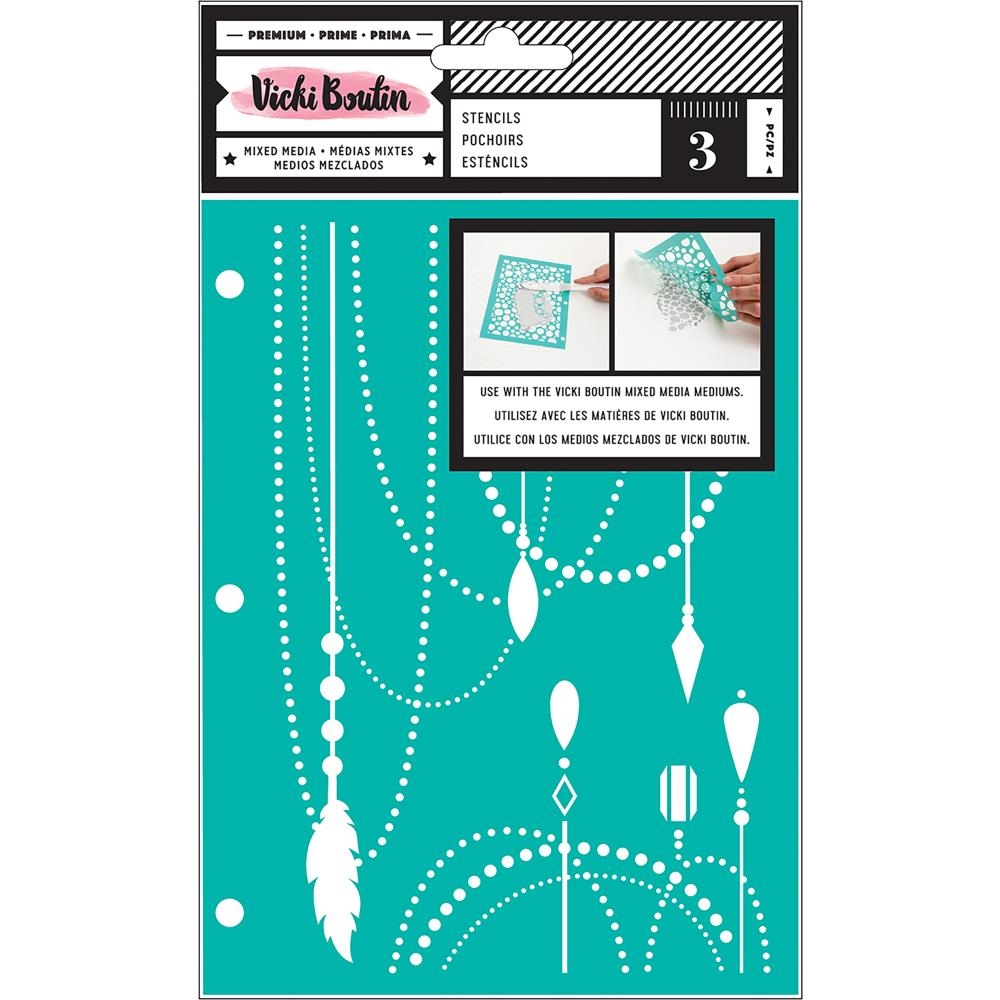 American Crafts Vicki Boutin ALL THE GOOD THINGS Mixed Media Stencils 343895 zoom image