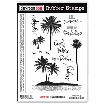 Darkroom Door Cling Stamp TROPICAL ISLAND Rubber UM DDRS181