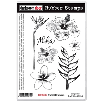 Darkroom Door Cling Stamp TROPICAL FLOWERS Rubber UM DDRS182