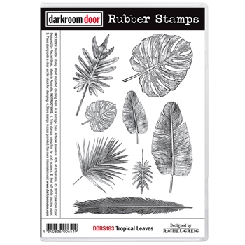 Darkroom Door Cling Stamp TROPICAL LEAVES Rubber UM DDRS183