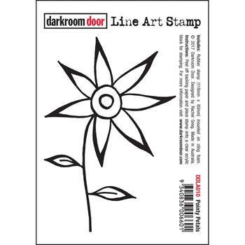 Darkroom Door Cling Stamp POINTY PETALS Line Art Rubber UM DDLA010