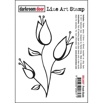 Darkroom Door Cling Stamp FRESH BUDS Line Art Rubber UM DDLA007