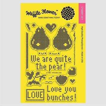 Waffle Flower STITCHED LOVE Clear Stamp Set 271142