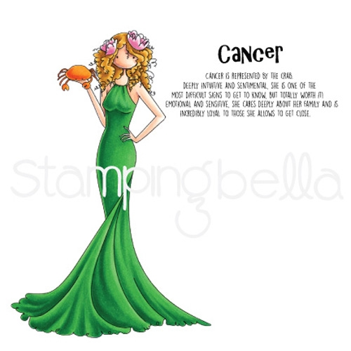 Stamping Bella Cling Stamp UPTOWN ZODIAC GIRL CANCER Stamp Rubber UM eb623* Preview Image