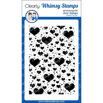 Whimsy Stamps FLOATING HEARTS BACKGROUND Clear Stamps cwsd185*