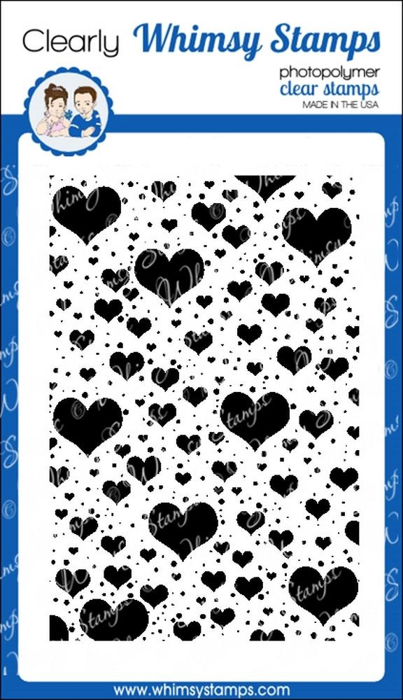 Whimsy Stamps FLOATING HEARTS BACKGROUND Clear Stamps cwsd185* zoom image