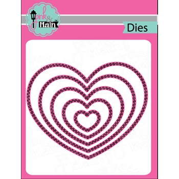 Pink and Main DOUBLE STITCHED HEART Die Set