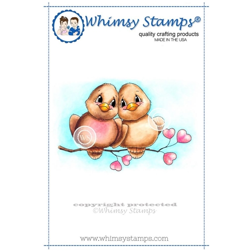 Whimsy Stamps LOVE BIRDS Rubber Cling Stamp c1063* Preview Image