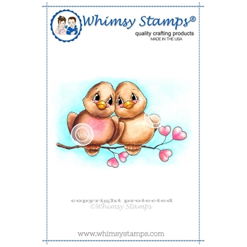 Whimsy Stamps LOVE BIRDS Rubber Cling Stamp c1063*