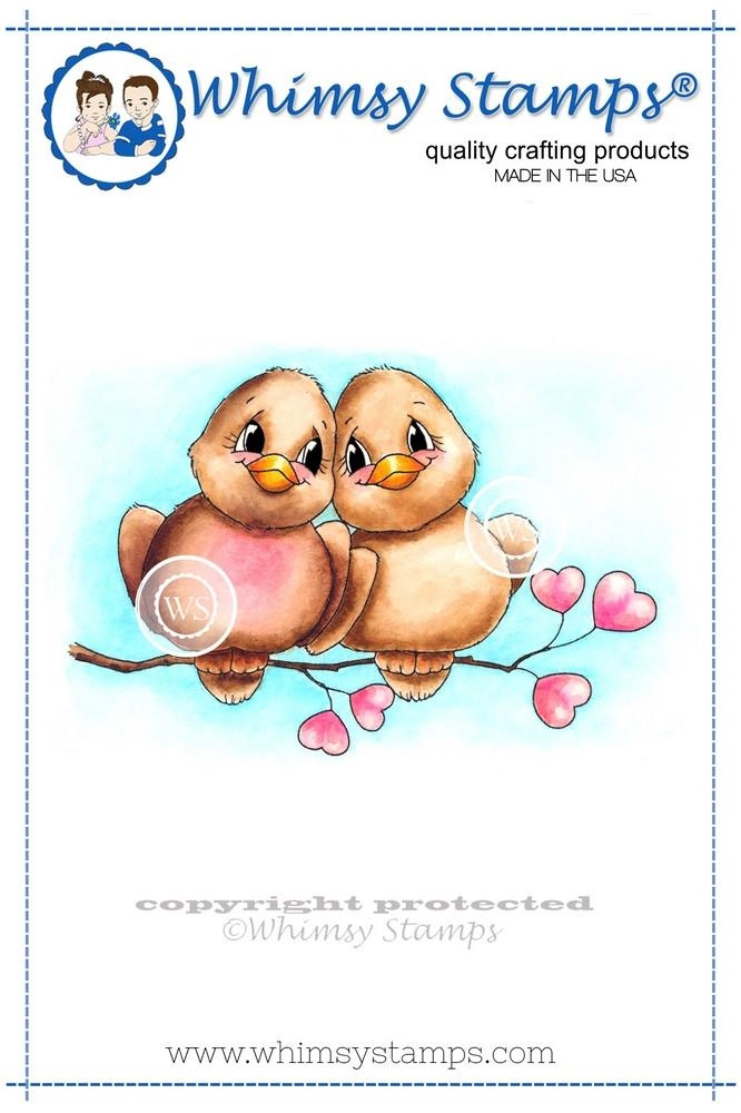 Whimsy Stamps LOVE BIRDS Rubber Cling Stamp c1063* zoom image