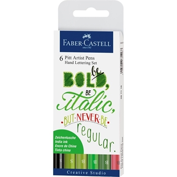 Faber-Castell INDIA INK PITT GREEN Lettering Pen Set 267117
