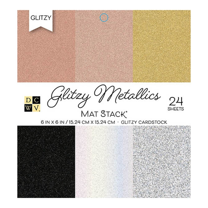 DCWV Cardstock 6 x 6 GLITZY METALLICS Paper Stack ps-006-00130 zoom image