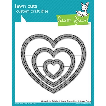 Lawn Fawn OUTSIDE IN STITCHED HEART STACKABLES Lawn Cuts LF1563