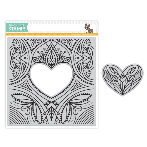 Simon Says Cling Rubber Stamp CENTER CUT HEART Background sss101805 Friends Preview Image