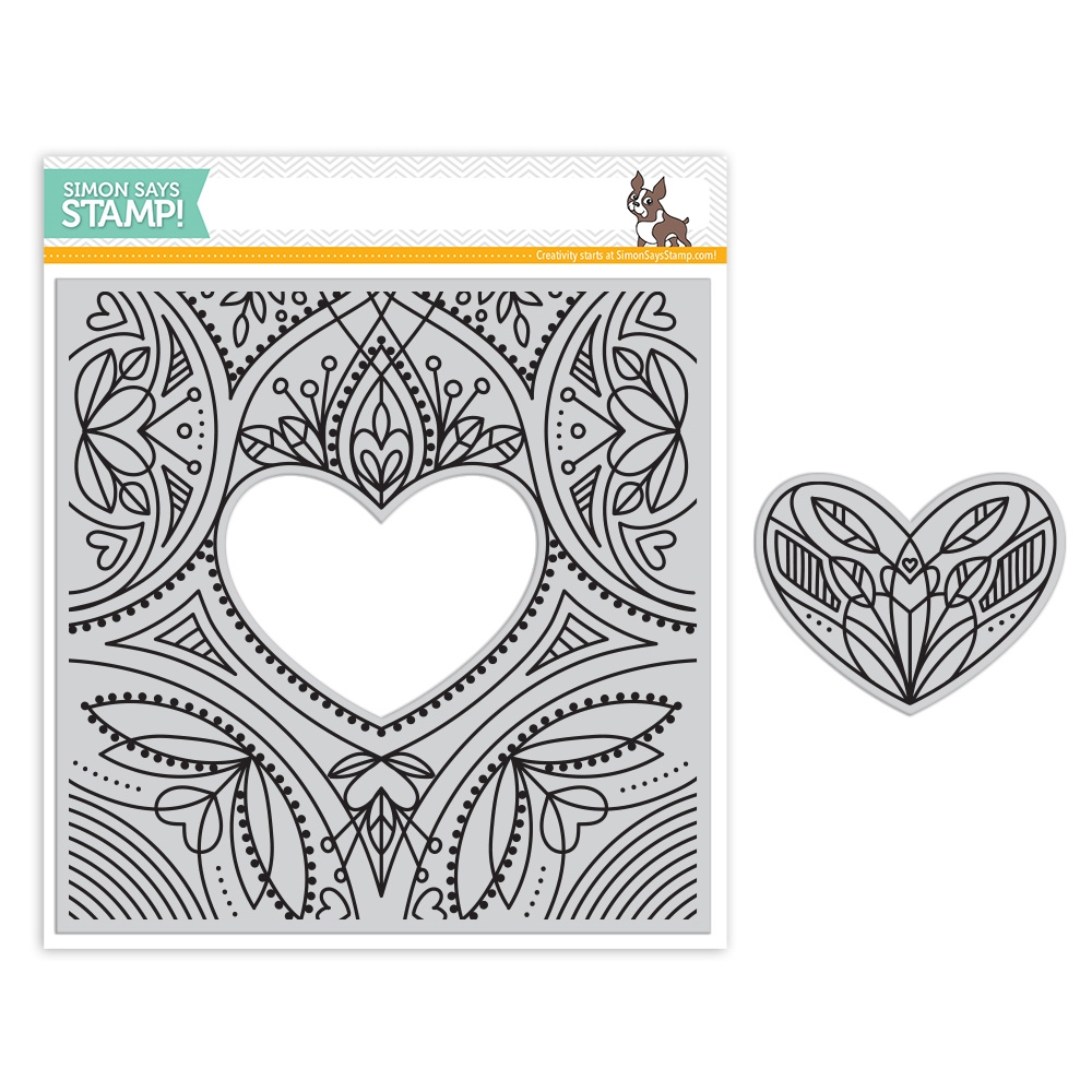 Simon Says Cling Rubber Stamp CENTER CUT HEART Background sss101805 Friends zoom image