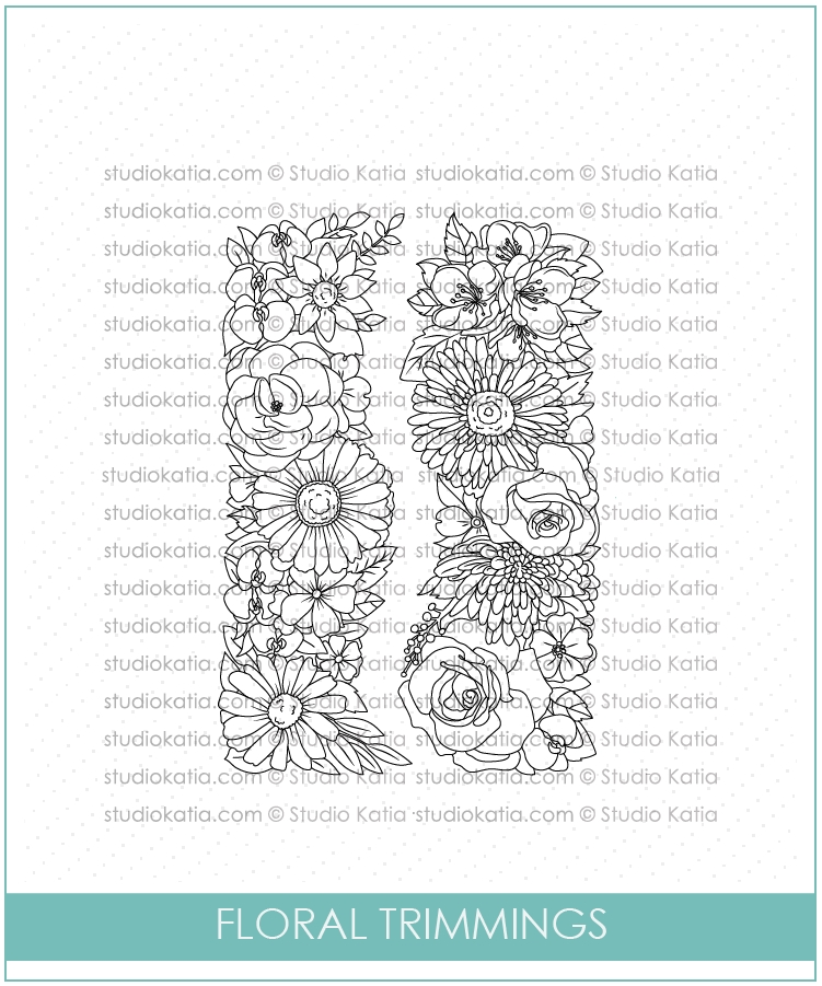Studio Katia FLORAL TRIMMINGS Clear Stamps stks034 zoom image