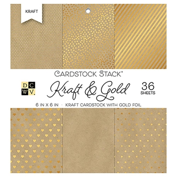 DCWV Cardstock 6 x 6 KRAFT AND GOLD Paper Stack ps-005-00559