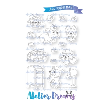 Atelier Dreams CORGI MAIL Clear Stamp Set ad-070