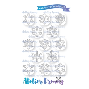 Atelier Dreams OUTLINE SNOWFLAKES Clear Stamp Set ad-913