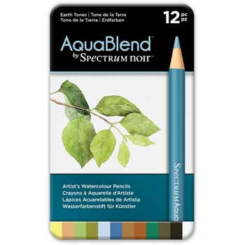 Crafter's Companion EARTH TONES Spectrum Noir AquaBlend Watercolour Pencils specab-earth12