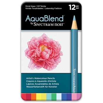 Crafter's Companion VIVID HUES Spectrum Noir AquaBlend Watercolour Pencils specab-vivid12