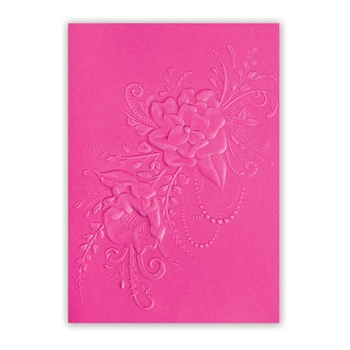 Sizzix Textured Impressions FLOWER HEART DOODLE 3D Embossing Folder 662455