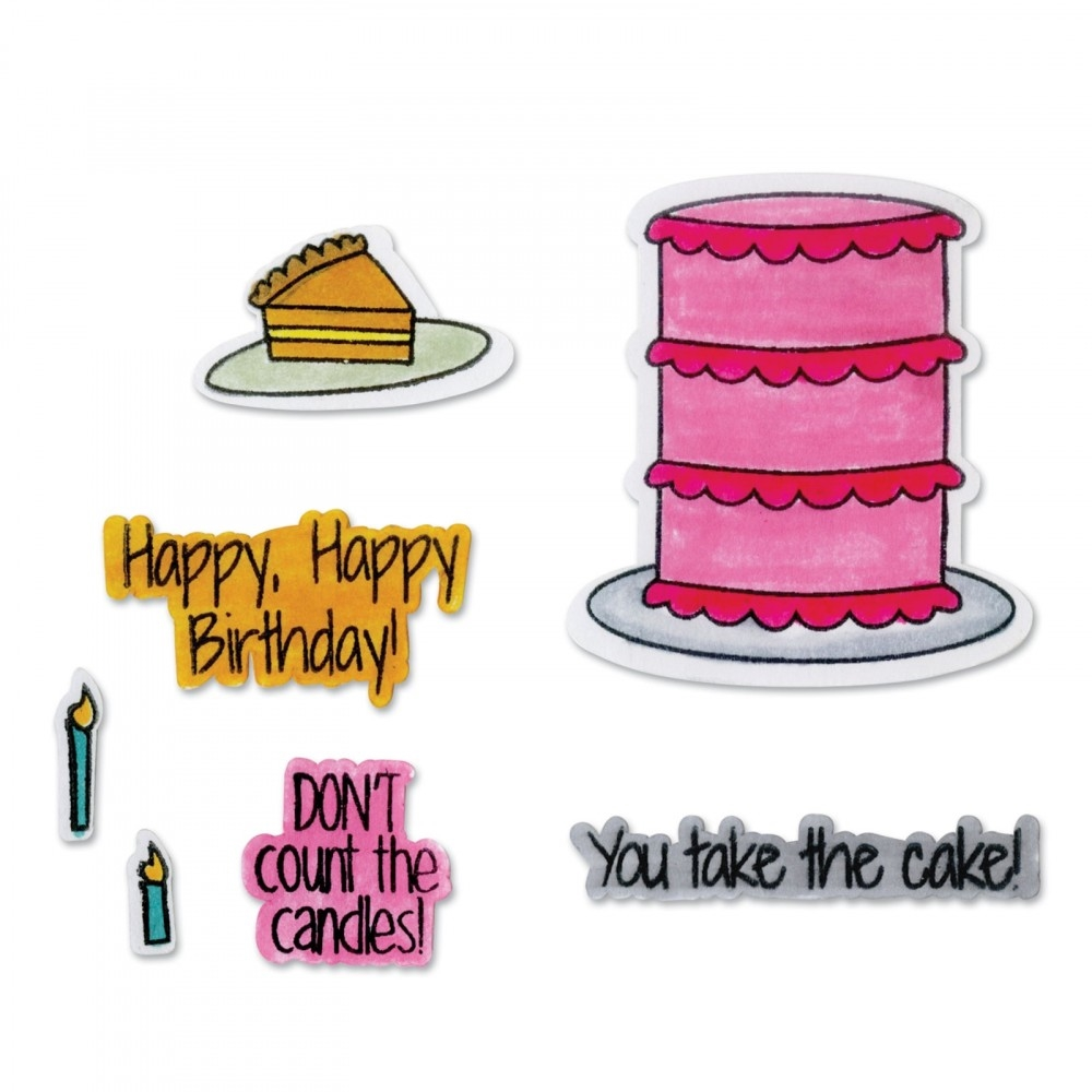 Sizzix Framelits TAKE THE CAKE Combo Die and Stamp Set 662479* zoom image