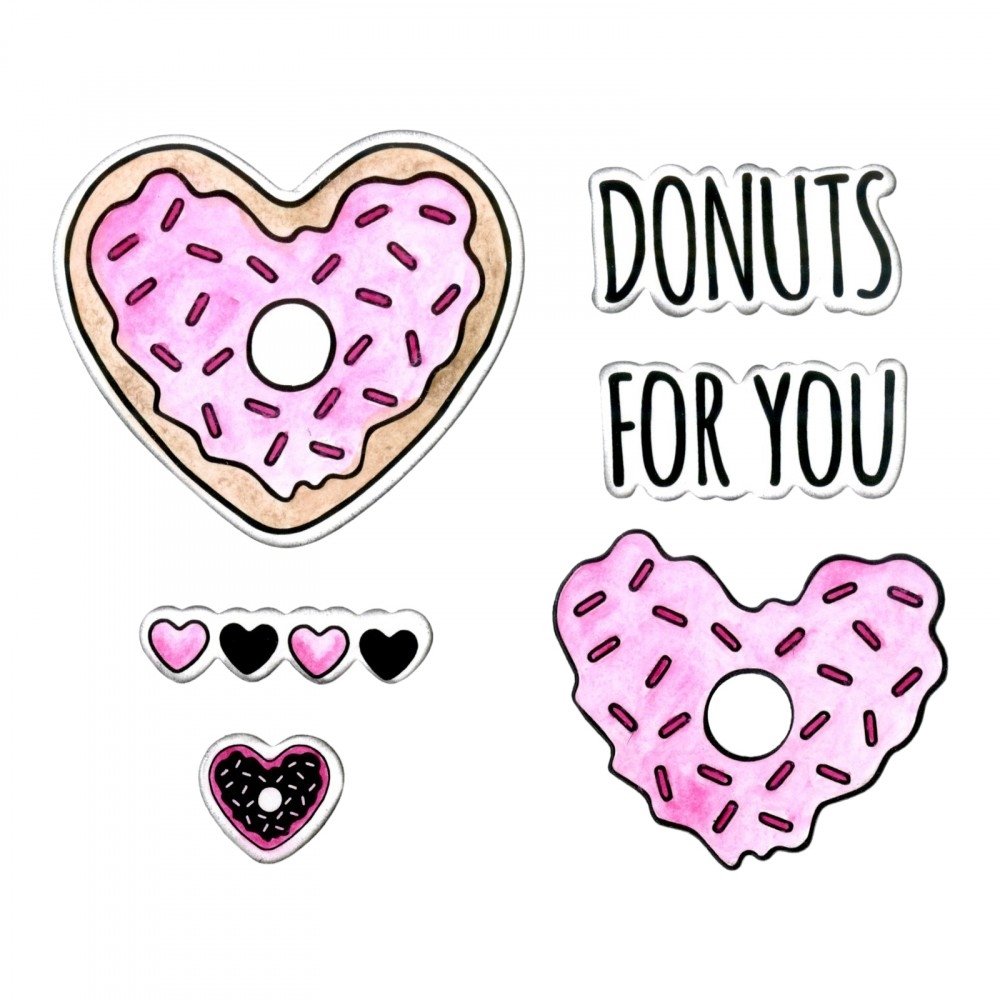 Sizzix Framelits DONUTS FOR YOU Combo Die and Stamp Set 662680* zoom image