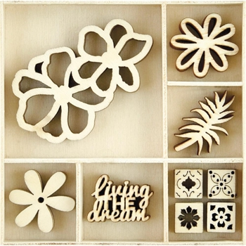 Kaisercraft TROPICS Wooden Shapes Flourish Pack FL616