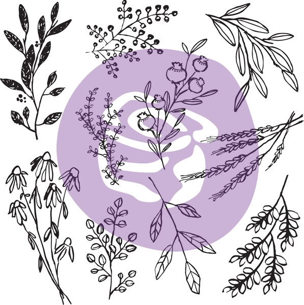Prima Marketing SWEET SPRIGS 12 x 12 Decor Clear Stamp Set 816551 zoom image