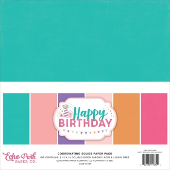 Echo Park HAPPY BIRTHDAY GIRL 12 x 12 Double Sided Solids Paper Pack hbg140060