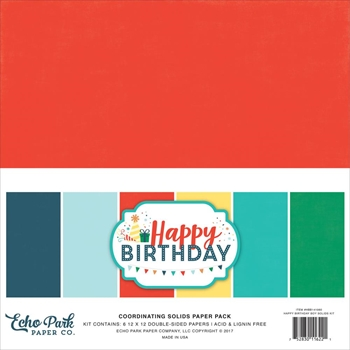 Echo Park HAPPY BIRTHDAY BOY 12 x 12 Double Sided Solids Paper Pack hbb141060