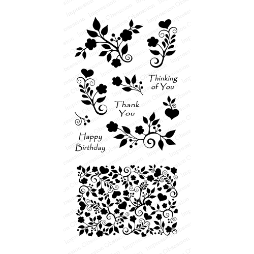 Impression Obsession Clear Stamp FLORAL HEART BACKGROUND Set WP806* Preview Image