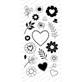 Impression Obsession Clear Stamp COUNTRY FLORAL Set WP804*