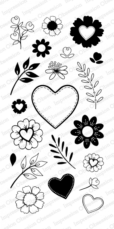 Impression Obsession Clear Stamp COUNTRY FLORAL Set WP804* zoom image