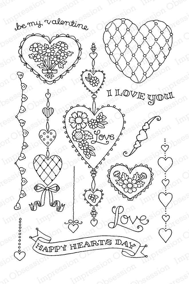 Pink Ink For Impression Obsession Clear Stamp STRING OF HEARTS Set CL810* zoom image