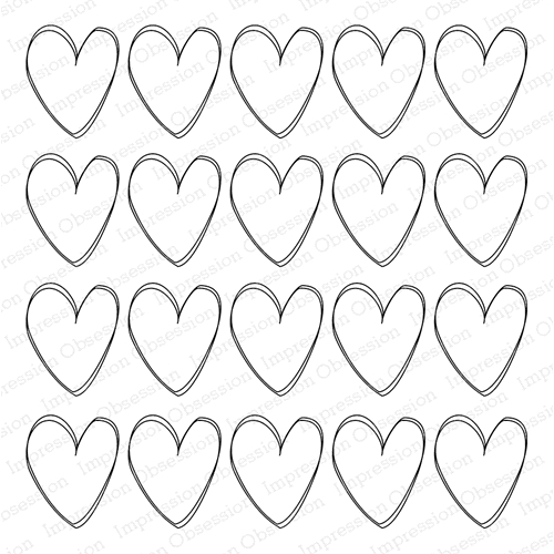 Impression Obsession Cling Stamp LOTS OF HEARTS Cover a Card CC302* Preview Image