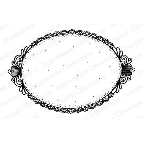 Impression Obsession Cling Stamp HEART OVAL FRAME F19707* Preview Image
