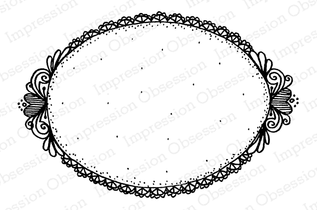 Impression Obsession Cling Stamp HEART OVAL FRAME F19707* zoom image