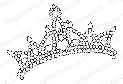 Impression Obsession Cling Stamp TIARA D7904* Preview Image