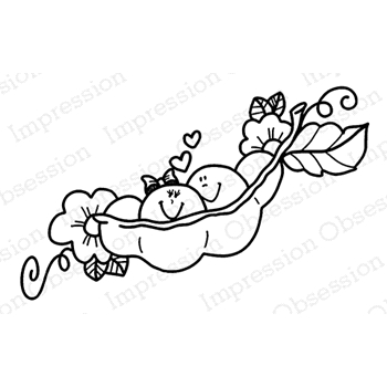 Impression Obsession Cling Stamp TWO PEAS IN A POD E21043