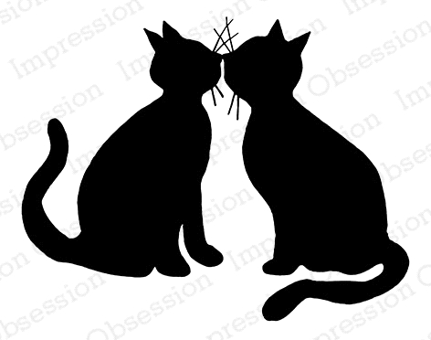 Impression Obsession Cling Stamp KISSING KITTIES E7906 Preview Image
