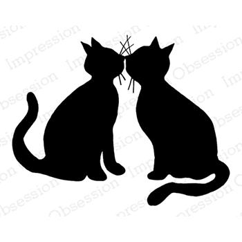 Impression Obsession Cling Stamp KISSING KITTIES E7906