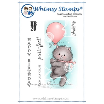 Whimsy Stamps KITTY BALLOON Rubber Cling Stamp c1232
