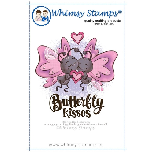 Whimsy Stamps BUTTERFLY KISSES Rubber Cling Stamp khb164* Preview Image