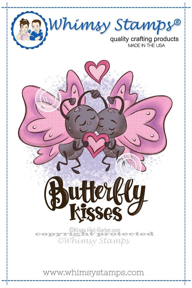 Whimsy Stamps BUTTERFLY KISSES Rubber Cling Stamp khb164* zoom image