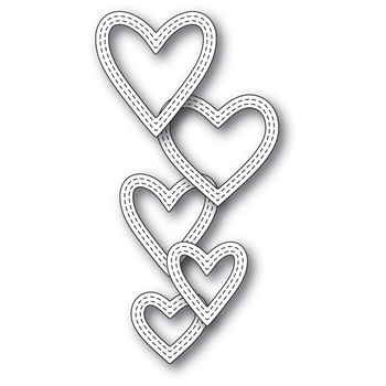 Memory Box CLASSIC DOUBLE STITCHED HEART RINGS Craft Die 99938