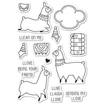 Memory Box Clear Stamps LLAMA LOVE Open Studio CL5219