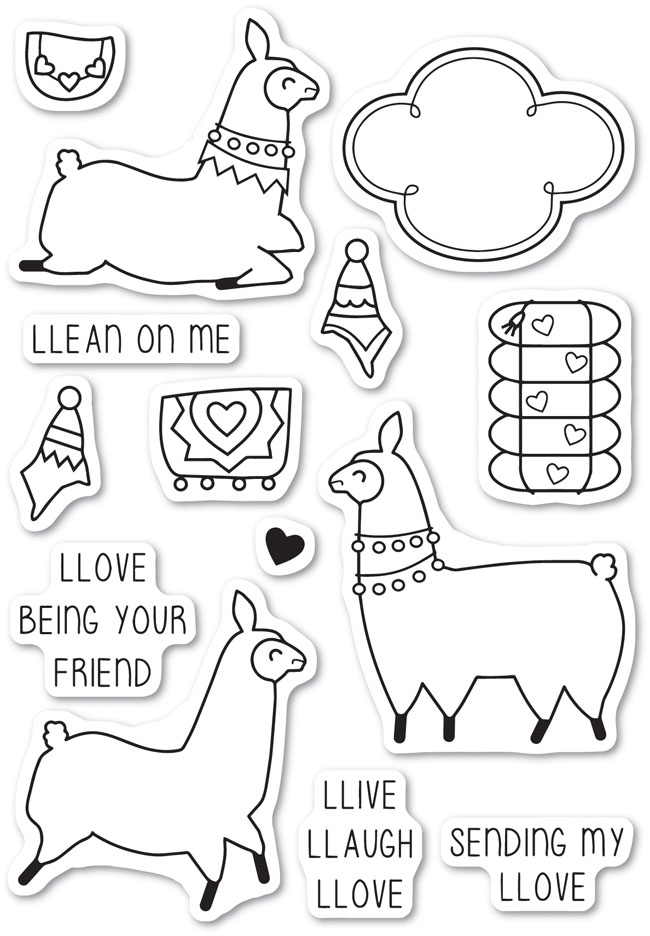 Memory Box Clear Stamps LLAMA LOVE Open Studio CL5219 zoom image