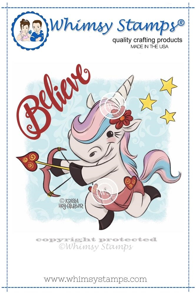 Whimsy Stamps UNICORN CUPID Rubber Cling Stamp khb193* zoom image